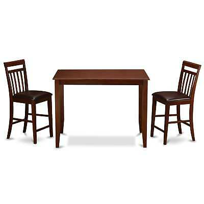 Mahogany Counter Height Table and 2 Kitchen Chairs 3-piece Dining Set