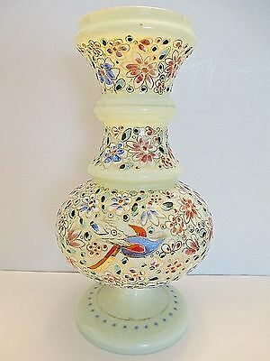 "Italian Murano Venetian Hand Painted Enameled Art Glass 9-5/8"" Vase  Blown Glows"