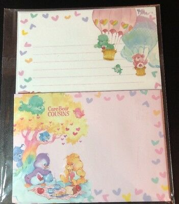 NIP Care Bear COUSINS Letter Set Lot Stationery Paper / Envelopes From Japan
