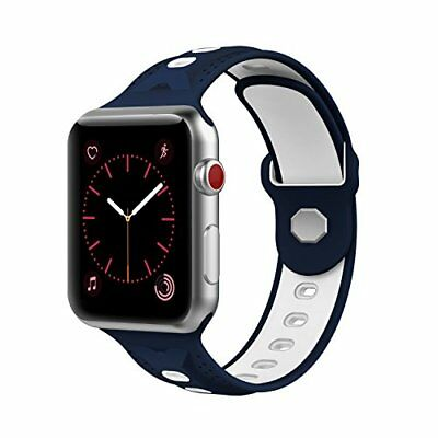 Apple Watch Series 1/2/3 Replacment Strap Soft Silicone Sport Band - Blue 42mm