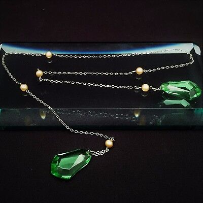 1920's Art Deco Era Sterling Silver, Czech Glass & Faux Pearl Lariat Necklace