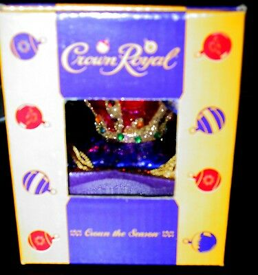New In The Box Rare Crown Royal Whiskey Glass Christmas Ornament
