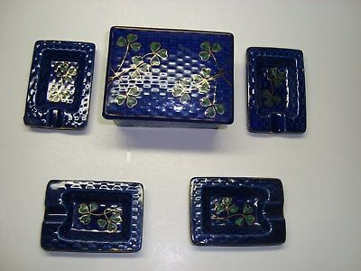 Japanese Porcelain Box and Small Plates Set Made in Occupied Japan Rare Texture