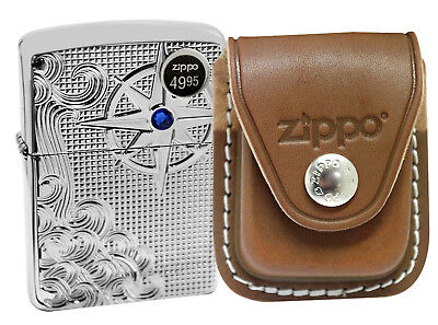 Zippo 28809 Deep Carved Lighter + LPCB Brown Leather Pouch Clip