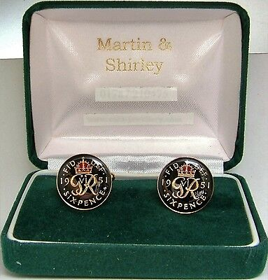 1951 Six pence cufflinks  real coins in Black & Red