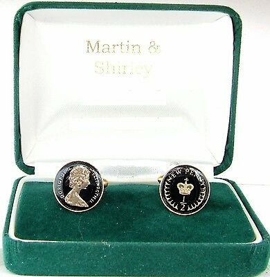 1974 Half Pence cufflinks from real coins in Black &Gold