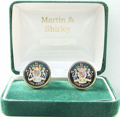 BRITISH  UK £1 Cufflinks made from real Coins Black & Gold & Colours
