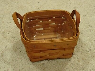 Longaberger Small Handwoven Basket with Leather Handles - Plastic Liner - 1995