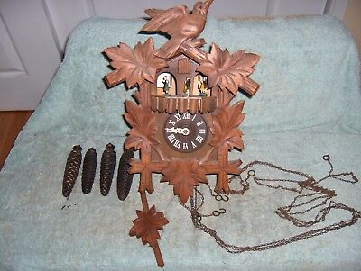 Vintage CUENDET Black Forest Swiss musical Cuckoo Clock w/ moving parts # 706-34