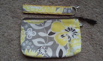 Thirty One Gifts Yellow Awesome Blossom Mini Zipper with Matching Key fob EUC
