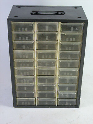 Vtg Equipto Small Parts Metal Drawer Cabinet w/ 30 plastic drawers and dividers