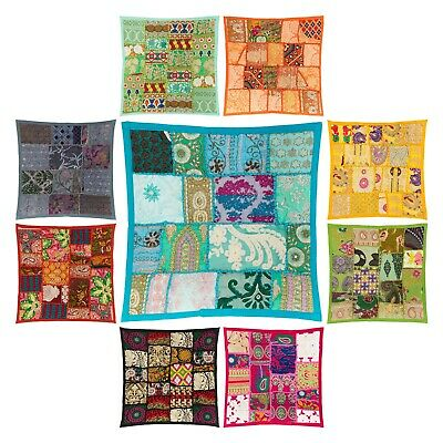 """Fair Trade Patchwork Cushion Cover 16""""x16"""" Decorative Embroidery Boho Moroccan"""