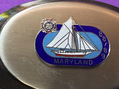 RARE.  - Maryland 88189 belt buckle sailboat with emblem / logo