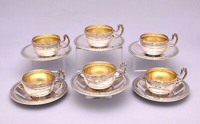 6 PCS SOLID SILVER COFFEE CUPS & SAUCER. 452 grams / 15.94 ounce
