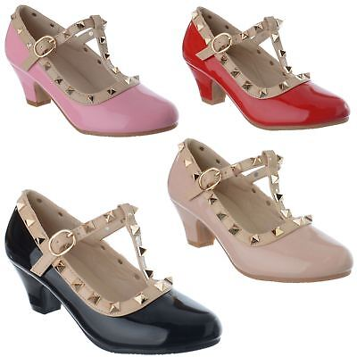 Girls Low Mid Heel T Bar Studded Mary Jane Party Pumps Kids Court Shoes Size