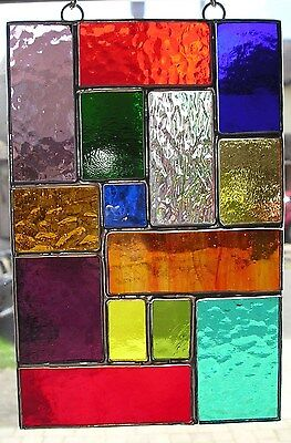 Stained Glass Panel, Abstract Suncatcher, Hand Made in England