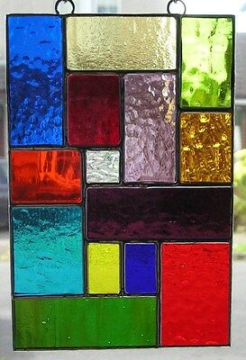 Stained Glass Panel, Abstract / Geometric Suncatcher, Hand Made in England