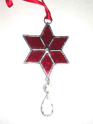 Stained Glass Star Suncatcher, Christmas Decoration, Handmade in England