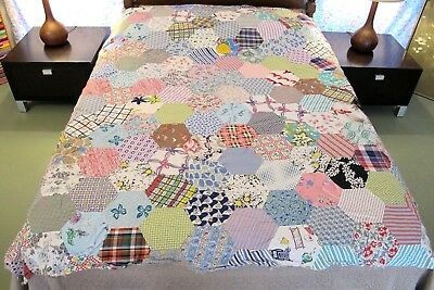 NOVELTY GALORE: Vintage Hand Sewn Feed Sack & Other Cottons HONEYCOMB Quilt TOP