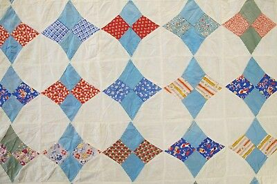 """Vintage Hand & Machine Sewn Feed Sack PERIWINKLE Quilt TOP w/ Novelty; 61"""" x 61"""""""