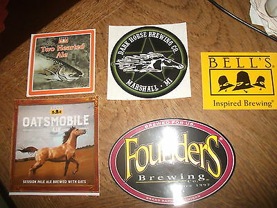 5 New Michigan Craft Beer Sticker Lot Bells Founders Two Hearted Dark Horse