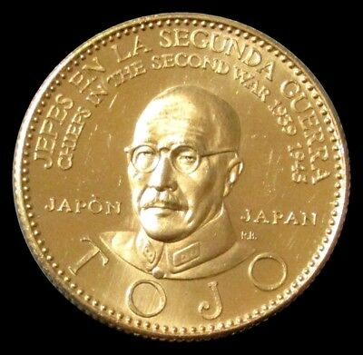 1957 Gold Tojo Japans Chief Of Wwii  22.2 Gram Coin Venezuela Choice Mint State