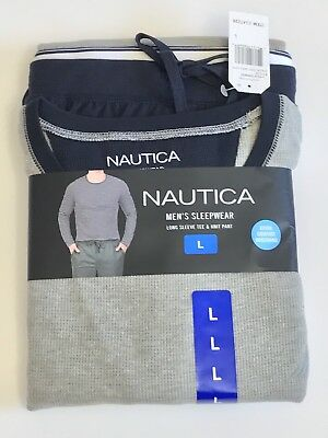 Mens Nautica Sleepwear Set Long Sleeve Tee & Knit Pant  GREY/NAVY LARGE
