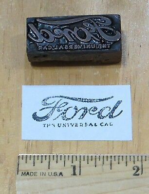 Vintage Letterpress Printing Block Ford The Universal Car Advertising Small