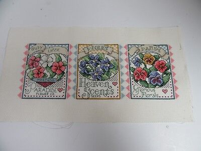 Finished Cross Stitch Seed Packets Paradise Flower Co Violet Pansy Heaven Scents