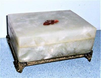 Antique China Signed Carved Jade Stone Gold Jewelry Box Vintage Vanity Asian