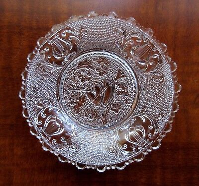 """Lacy Sandwich Cup Plate, Valentine, Authentic Original with Fine """"Ring"""". c. 1830"""