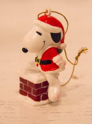 Vintage Peanuts Snoopy As Santa Chimney Ornament United Feature Syndication UFS
