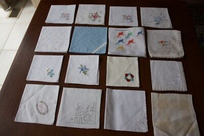 16 NEW & USED HANKIES Cotton/Linen Embroidered & Crocheted #59