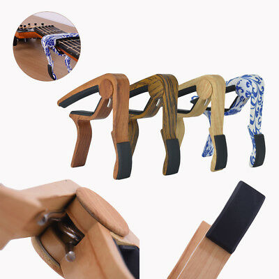 Hot Quick Change Wood Grain Clamp Key Capo For Classic Guitar Acoustic Electric