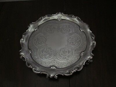 """Heavy High Victorian Silver Salver London 1897-8, 7 5/8"""", sterling English"""