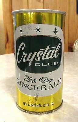 Rare 1966 Straight Steel Crystal Club Ginger Ale Soda Pull Tab Pop Can Clean