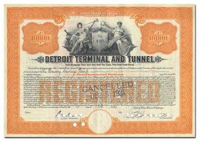 Detroit Terminal and Tunnel Bond Certificate