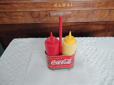 New Never Used Coca-Cola, Mustard & Ketchup Bottles in Tin Coke Stand EC