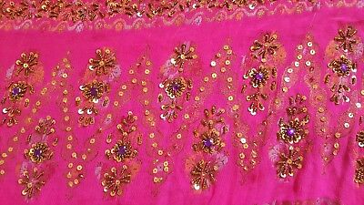 Pakistani Indian fancy Dress, 3pc, party wear pink frock, S/M beads and sequins