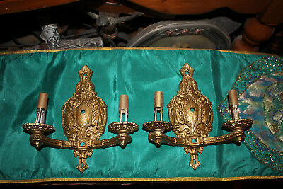Antique Victorian Style Wall Sconce Light Fixtures-Pair-Brass Metal