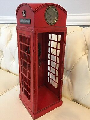 London Red Telephone Box Booth Antique Metal Phone Decor Figurine /shipped USA