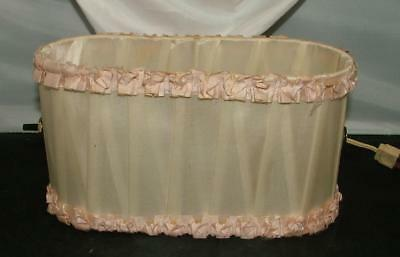 Antique Shabby Chic Headboard Hanger Reading Lamp Light Pleated Pink Silk Shade