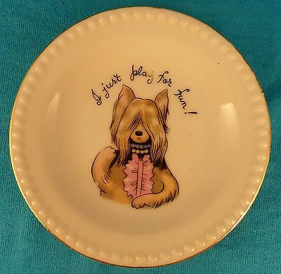 Vintage bridge card game dish plate SILKY SKYE TERRIER YORKIE Old vintage
