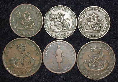 6 Bank Tokens from Canada.  1837-1857.  No Reserve!