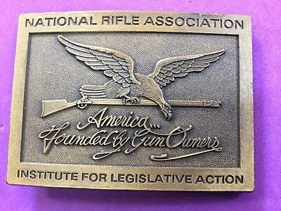 Vintage Belt Buckle NRA Rifle - Founded by Gun Owners - America- Institute