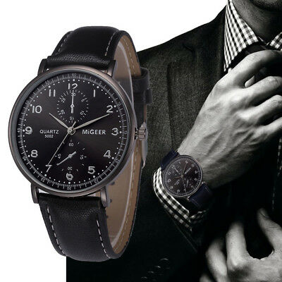 Men Business Retro Design Watch Leather Band Analog Alloy Quartz Wrist Watch Hot