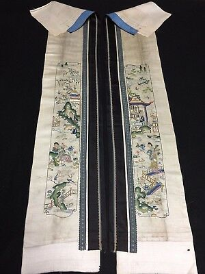 Antique Chinese robe's silk embroidered sleeve bands- Beauties in Garden #42