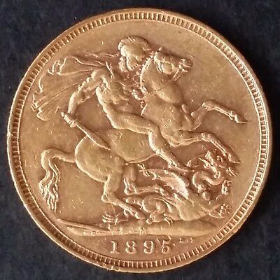 1895 Australia One Sovereign Gold ( .916 ) coin Queen Victoria M Mintmark