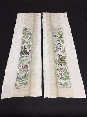 Antique Chinese robe's silk embroidered sleeve bands- Scholars in landscape #41