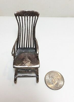 ANTIQUE STERLING SILVER MINIATURE ROCKING CHAIR DOLL HOUSE FURNITURE 14.81 grms